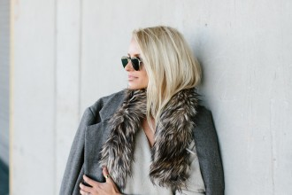 Winter is Going Cream V neck sweater pinstripe trousers pants oversized grey coat faux fur stole rayban round sunglasses // Charleston Fashion Blogger Dannon Like The Yogurt