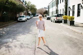 Chunky Knits + Wrap Skirts Spring 2016 Chunky knit sweater H&M Lamoda 101 Hesse belted wrap skirt white Sante Shoes nude pointed mules // Charleston Fashion Blogger Dannon Like The Yogurt