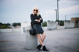 chunky knits and mini skirts navy oversized sweater forever 21 wrap a line high waist mini skirt snake print monochrome ankle boots street style fall autumn trends 2016 // Charleston Fashion Blogger Dannon Like The Yogurt