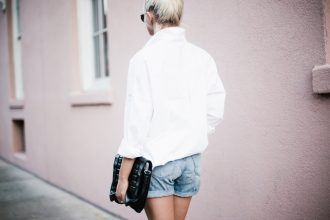 Denim Boy Shorts white button down shirt poplin woven forever 21 medal boyfriend suede ankle boots top knot hair downtown on-the-go street style spring 2017 // Charleston Fashion Blogger Dannon Like The Yogurt