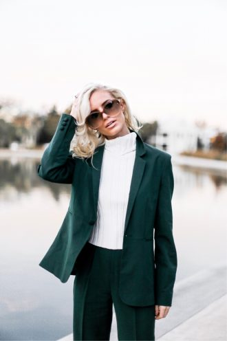 Give Thanks Fall 70s style green suit cigarette pants blazer oversized sunglasses downtown street style Charleston Fashion Blogger Dannon Like The Yogurt high waist camel pants trousers wide leg palazzo pants plunge neck long sleeve wrap body suit asos black friday sales deals