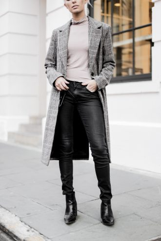 leather + plaid checkered long coat forever 21 taupe turtleneck jeans pants ankle boots cat eye sunglasses Charleston Fashion Blogger Dannon Like The Yogurt