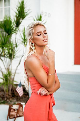 Coral Jumpsuit Wide-leg belted Forever 21 Asos Rust Orange // Charleston Fashion Blogger Dannon K. Collard Like The Yogurt Miami summer street style hair up hair