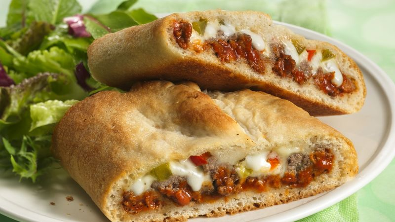 stromboli with lettuce on the side