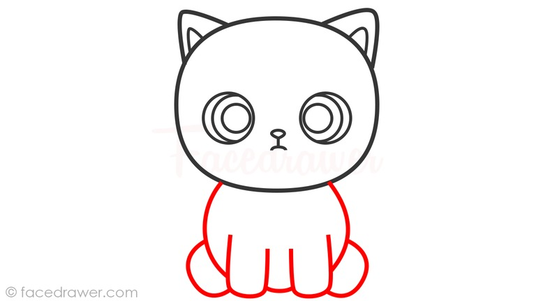 how to draw cute cat step 6