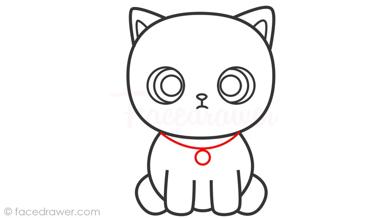 how to draw cute cat step 7