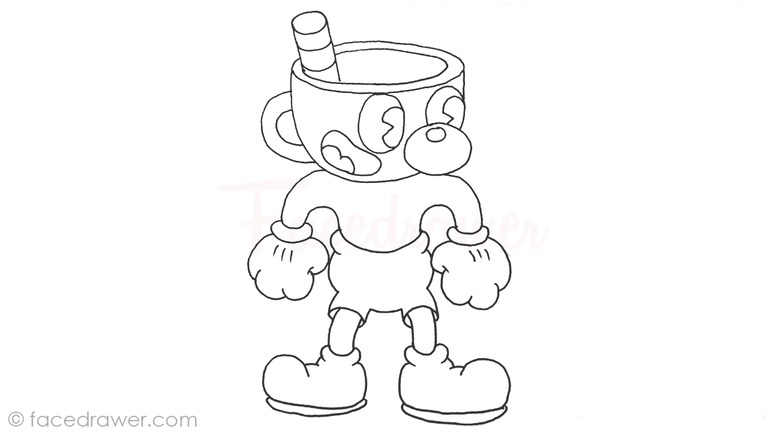 how to draw mugman cuphead step 13