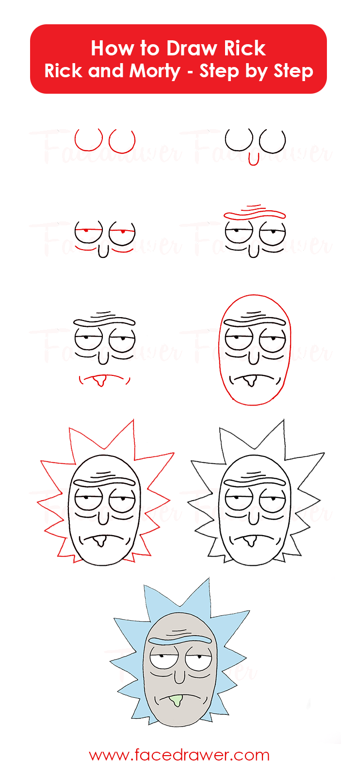 how to draw rick from rick and morty step by step infographic