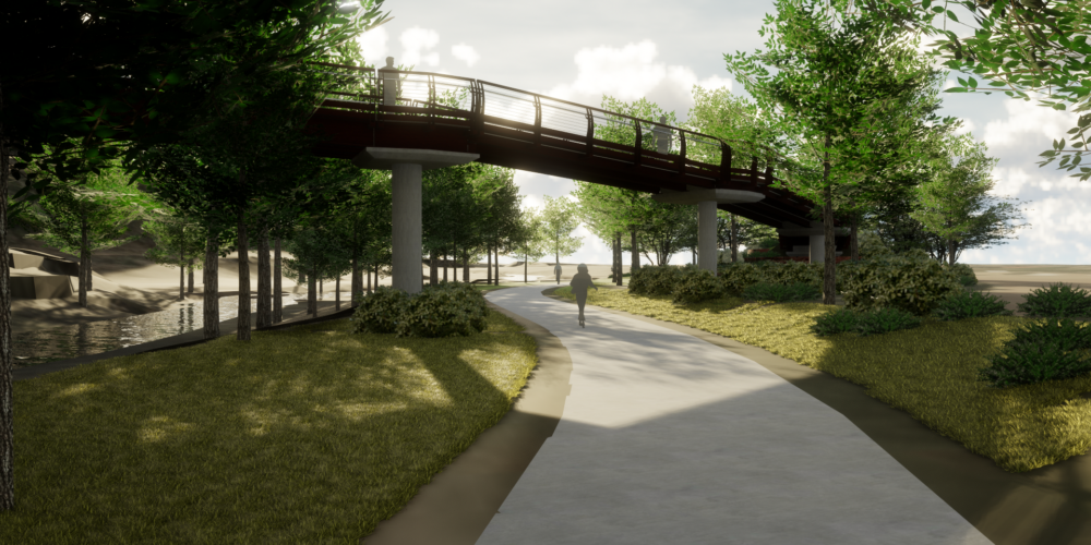 CU Boulder 23rd Street Bridge - Bike Path Crossing Rendering