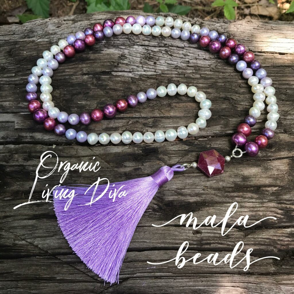 108 Mala bead necklace with colored fresh water pearls, faceted hexagon raw ruby, and lavender tassel.