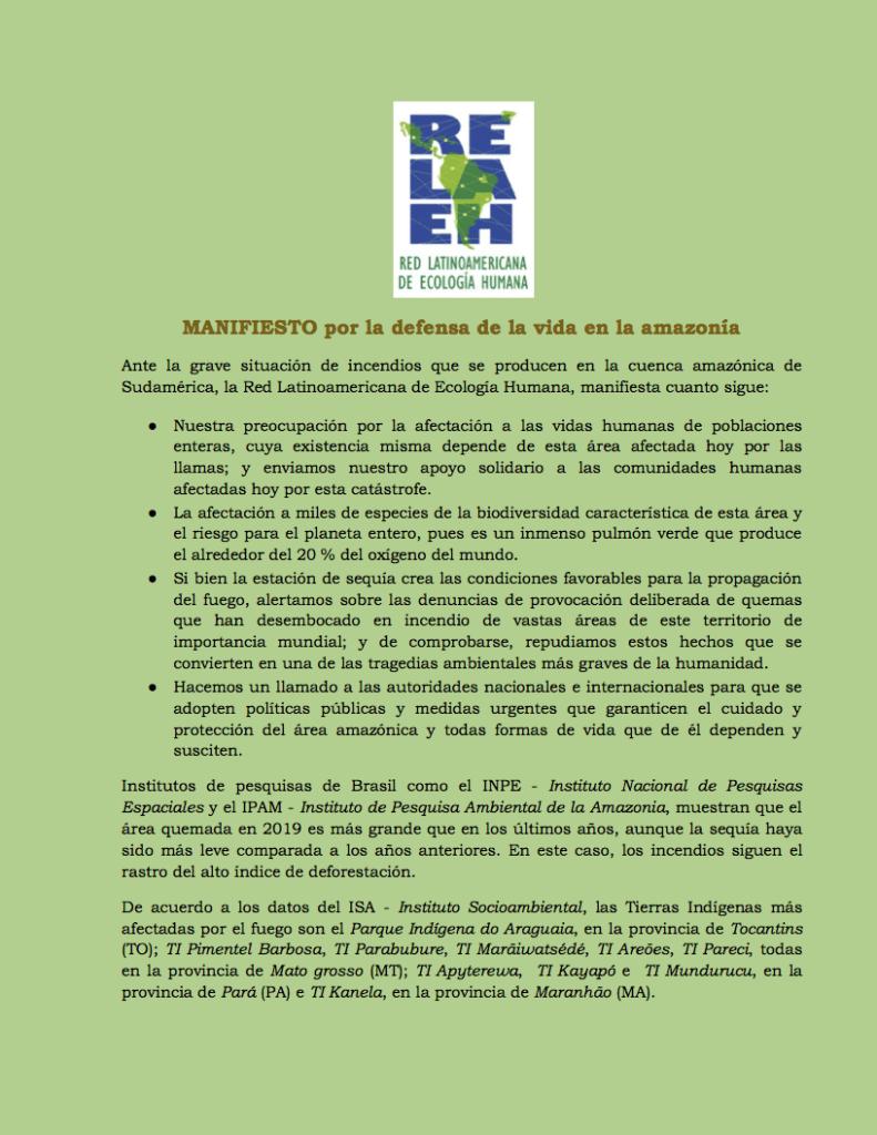Capa de Livro: MANIFIESTO por la defensa de la vida en la amazonía