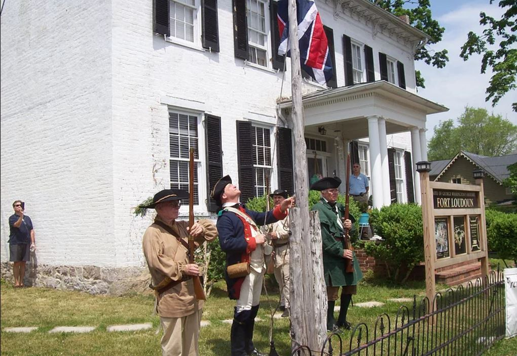 At Fort Loudoun Winchester VA, the Union Jack is raised.