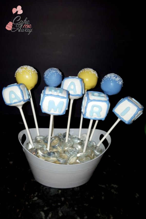 Baby Cube Yellow Blue Cake Pops