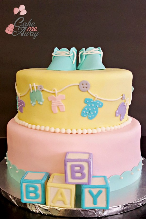 Baby Shower Pink Yellow Cake