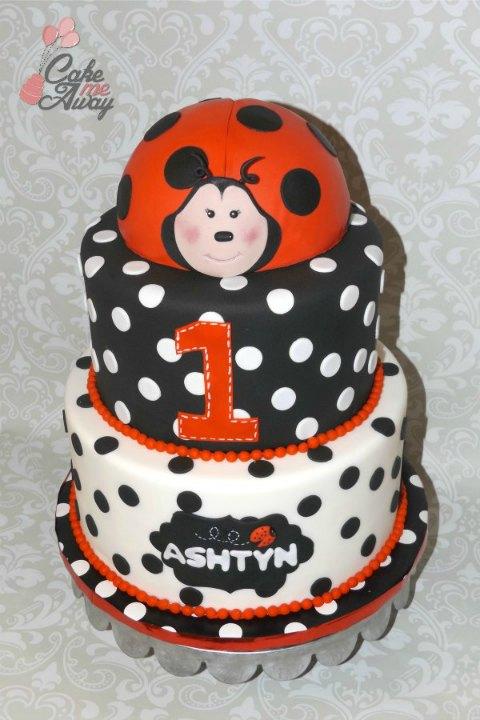 Black and White Polka Dots Ladybug Birthday Cake