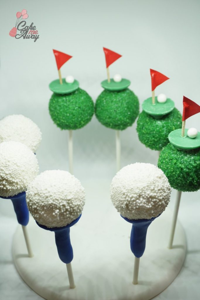 Golf Balls and Putting Green Cake Pops