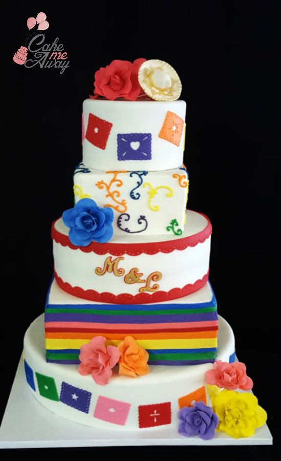Mexican Paper Mache Colorful Rose Wedding Cake