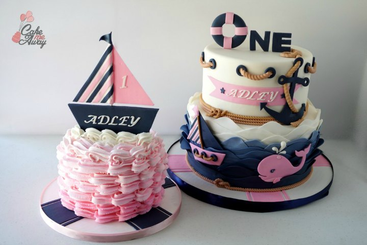 Nautical Navy Blue Pink Whale Boat One Birthday Smash Cake