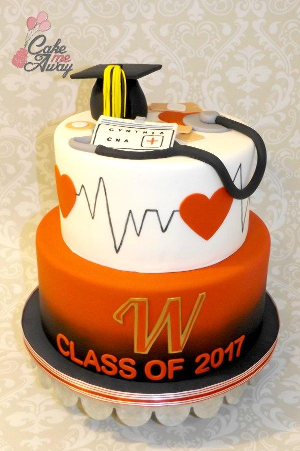 Nursing Student Graduation Heartbeat Cake