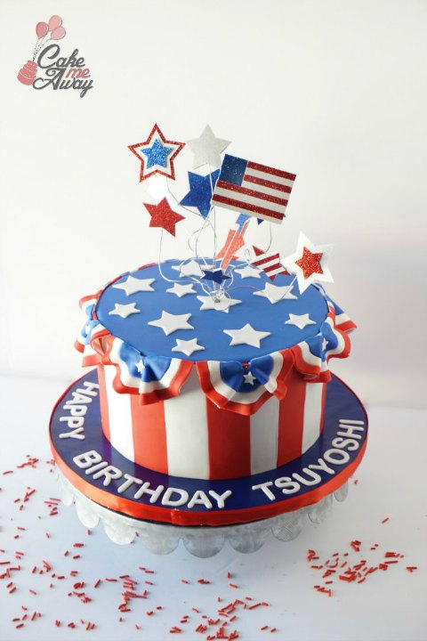 Patriotic Fourth of July Red White and Blue Birthday Cake