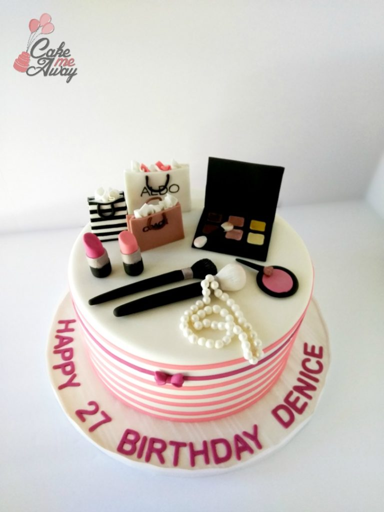 Peach Fuscia Makeup and Shopping Bag Birthday Cake