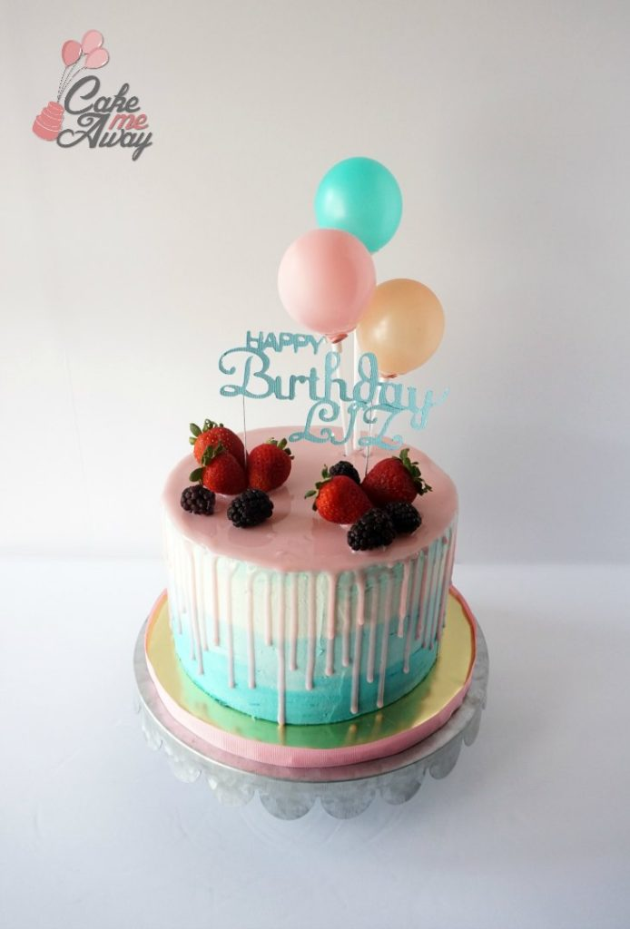 Pink Teal Gold Balloon Drip Mirror Glaze Birthday Cake