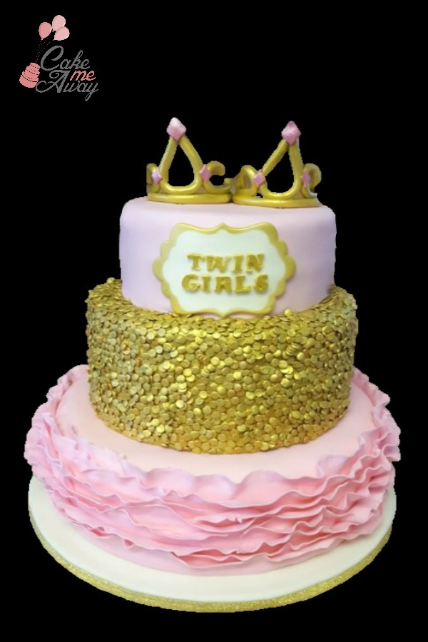 Pink and Gold Crown Twin Baby Shower Cake