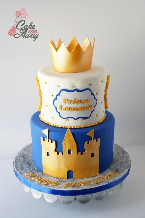 Royal Blue Gold Prince Castle Crown Birthday Cake