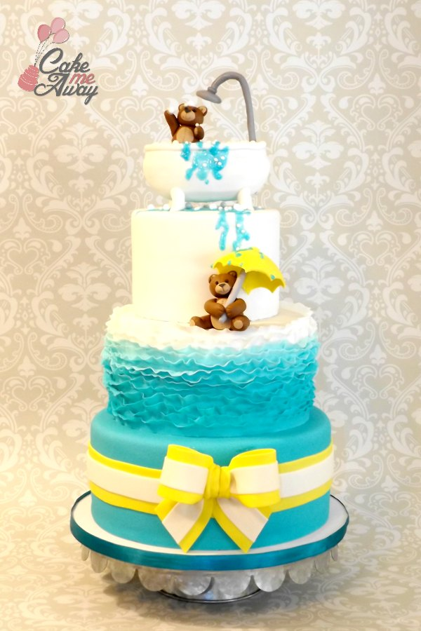 Teddy Bear Baby Shower Teal Yellow Cake