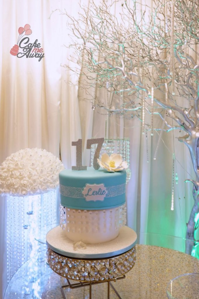 Tiffany Blue Diamond Hanging Chandelier Sweet 16 Birthdya Cake