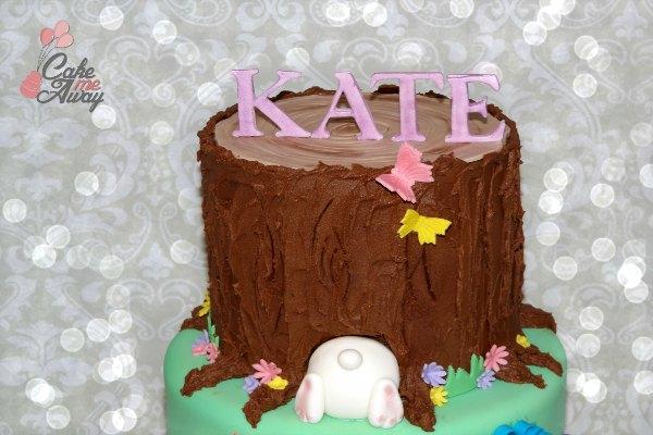 Tree Trunk Bunny Tail Birthday Cake