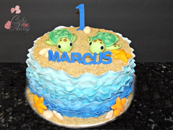 Under The Sea Waves Turtle Cake