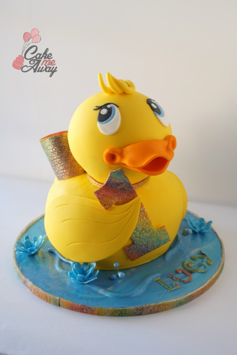 Yellow Rubber Duck Rainbow Bow Birthday Cake Front