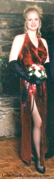 """Don't be alarmed by how whorish this dress was for a 16yo to wear. It's called """"irony."""""""