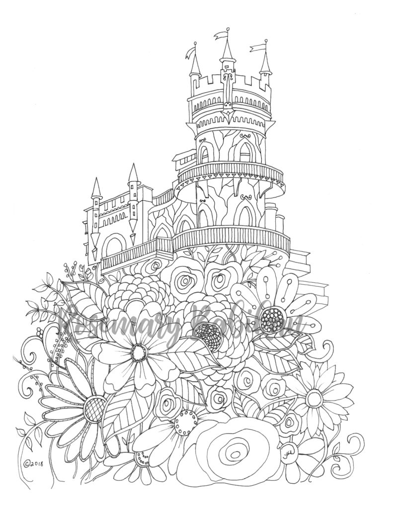 Adult Coloring Page of a Castle with Flowers.