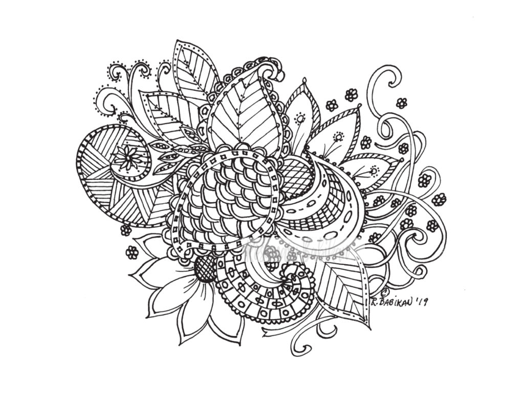 Adult Coloring Floral Bouquet 006
