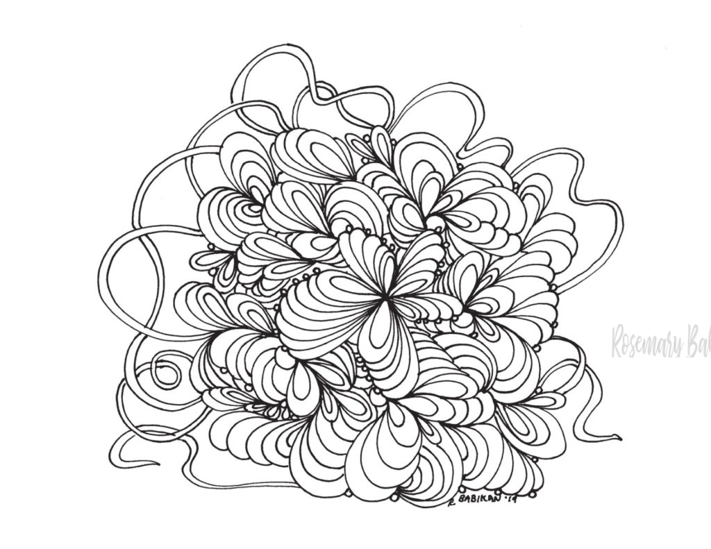Adult coloring page, stress relief swirls