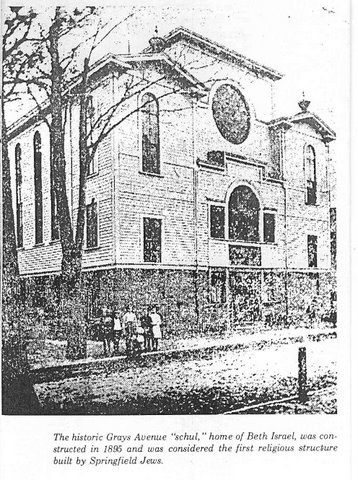 First synagogue in Springfield. Gray's Ave Shul built in 1895 by Congregation Beth Israel.