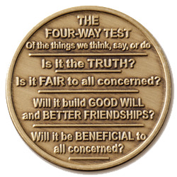 Rotary 4 Way Test Coin