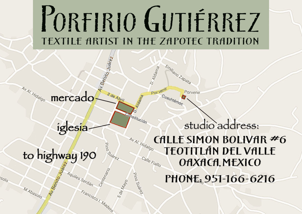 Map to the studio of Porfirio Gutiérrez y Familia