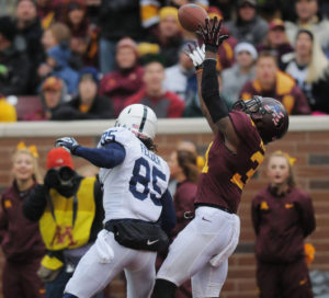 Minnesota defensive back Eric Murray attempts to intercept a pass against Penn State on Saturday at TCF Bank Stadium.