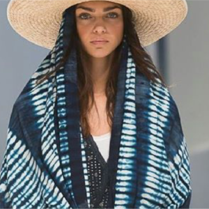 Indigo print , Cotton blend  Oversized , hand dye  pre washed.  Soft , light and each made by hand   wear at the beach as a wrap or as a scarf unisex  $87.00 - $98.00