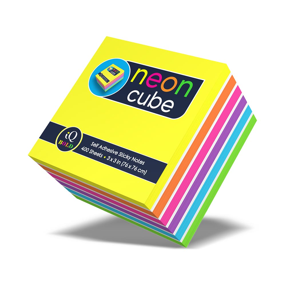 iQ BOLD Neon Cube Sticky Notes 400 Sheets 34003