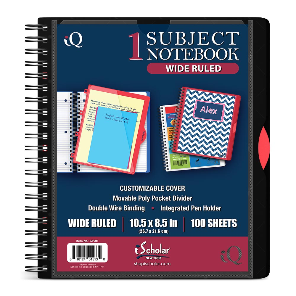 iQ 1 Subject Poly Notebook 10.5″ x 8.5″ Double Wire 59901