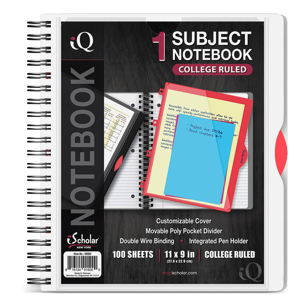 iQ 1 Subject Poly Notebook 11″ x 9″ Double Wire 59902