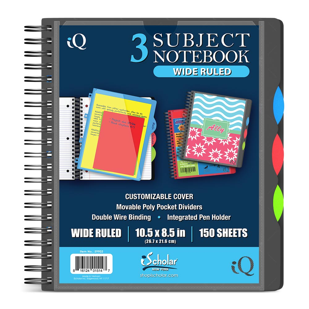 iQ 3 Subject Poly Notebook 10.5″ x 8.5″ Double Wire 59903