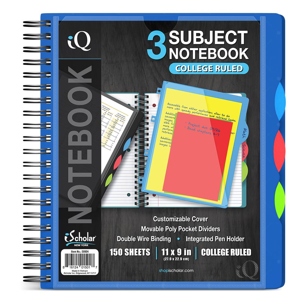 iQ 3 Subject Poly Notebook 11″ x 9″ Double Wire 59904