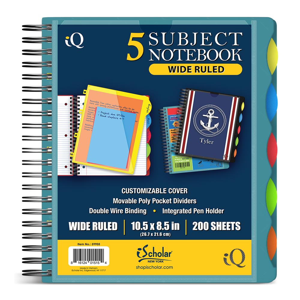 iQ 5 Subject Poly Notebook 10.5″ x 8.5″ Double Wire 59905