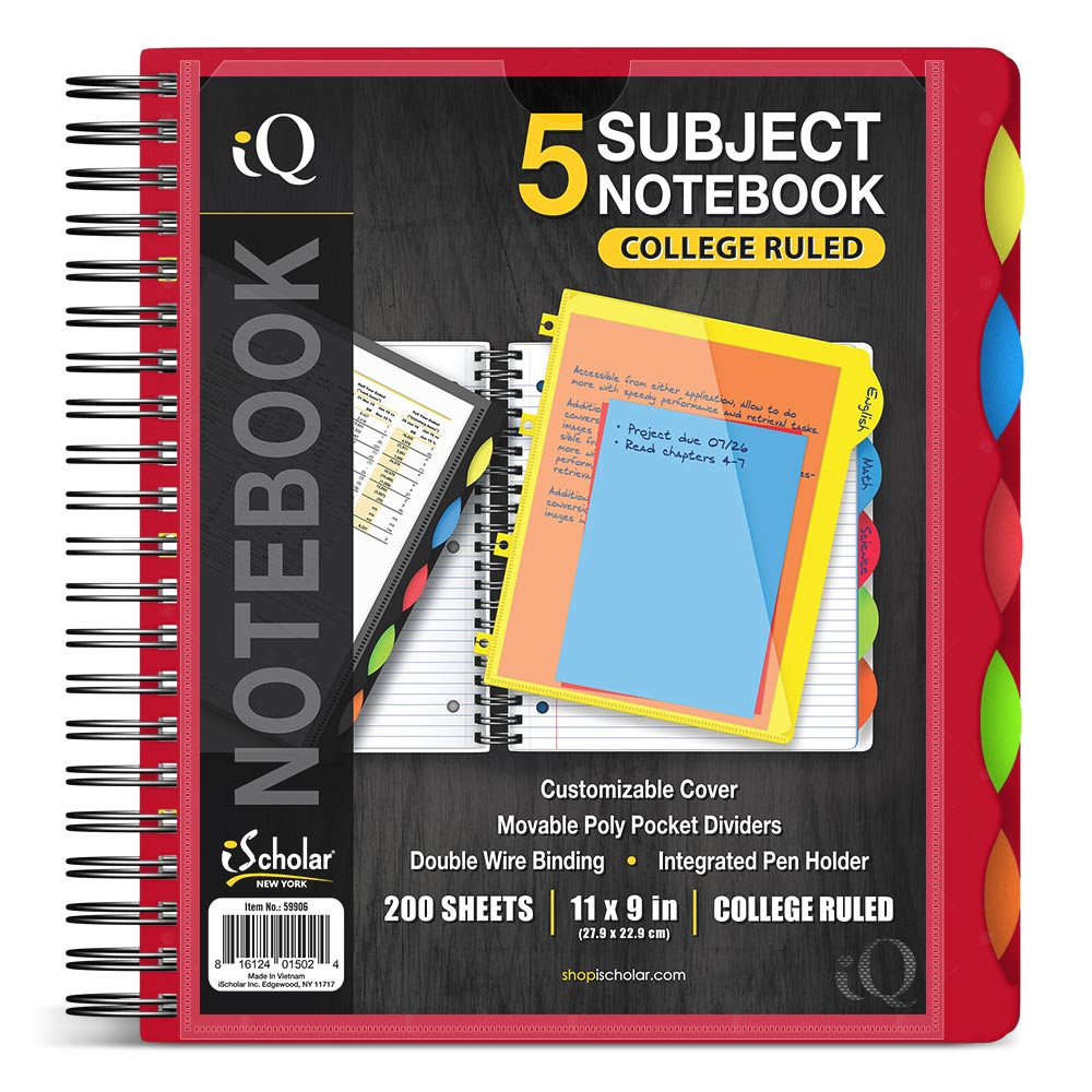 iQ 5 Subject Poly Notebook 11″ x 9″ Double Wire 59906