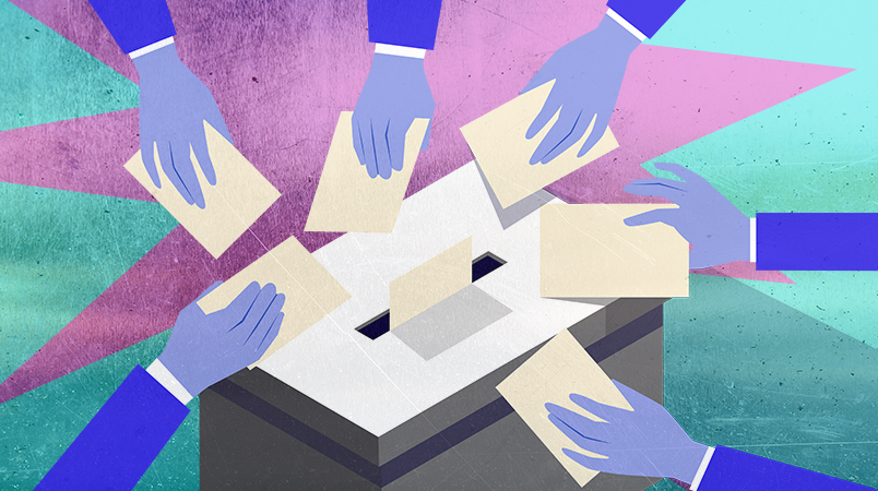 Image: Illustration of hands submitting voter forms into a ballot box